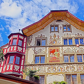 Lucern Color by Dee Haun - Buildings & Architecture Public & Historical ( exterior, 2015, public & historical, switzerland, lucern, colorfull, buildings & architecture )
