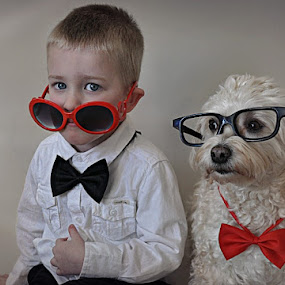 Bowtie Buddies by B Lynn - Babies & Children Child Portraits ( expression, face, dogs, glasses, pair, dress up, children, cute, twins, kid, love, silly, friends, family, companion, pets, friendship, humor, portraits, animals, funny, bows, fun, kids, portrait, two, red, matching, pet, suit, dog, boy, friend,  )