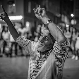 Old Happy and Dancing on street music by Amr Younis - People Street & Candids ( dancing, black and white, happy, people, street photography )