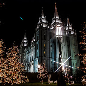 Temple and lights by Kyley Hansen - Public Holidays Christmas ( lights, december, winter, snow, christmas )