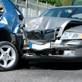 Two cars crashed by Deyan Georgiev - Transportation Automobiles ( car, insurance, detail, accident, wheel, loss, automobile, street, vehicle, driving, emergency, road, transportation, danger, transport, metal, hit, drive, bumper, repair, collision, crash, safe, problems, wreck, damage, front, smash, dangerous, tire, disaster, broken, two, safety, traffic, horizontal, auto )