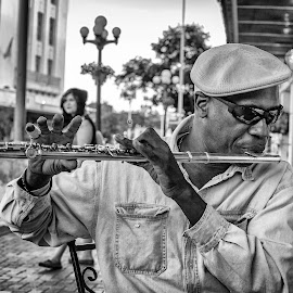 Street Artist by Paul Frese - People Musicians & Entertainers ( music, song, alamo, jazz, texas, san antonio, sunglasses, hat, flute, musician, artist, blues, black, downtown )
