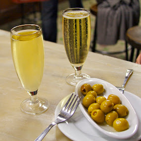 Cava and Olives in Barcelona by Joe Proctor - Artistic Objects Other Objects ( fork, still life, cava, barcelona, olives )