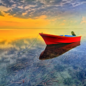lonely boat by Herry Suwondo - Transportation Boats