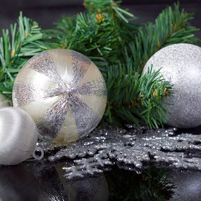 Silver by Philip O'Brien - Public Holidays Christmas ( studio, reflection, green, background, silver, christmas, snowflake, bulbs, decorations, garland, black,  )