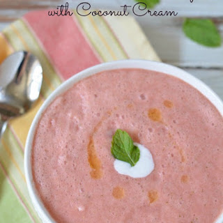 Chilled Watermelon Soup with Coconut Cream