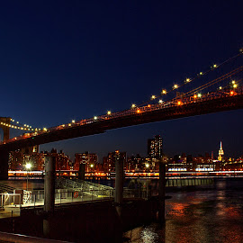 Brooklyn Bridge at Night by Judy Florio - Buildings & Architecture Bridges & Suspended Structures ( brooklyn bridge, hdr, east river, night, ny, brooklyn,  )