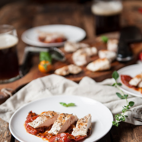 20 minute Chicken in Roasted Tomato Brown Ale Herb Sauce