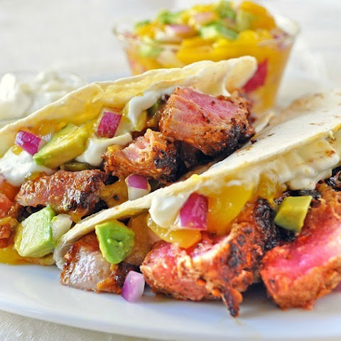 Ahi Tuna Tacos with Wasabi Cream and Mango Avocado Salsa