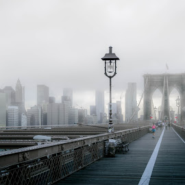 Foggy Brooklyn by Thomas Mitchell - Novices Only Street & Candid ( america, black and white, street, candid, new york, road, people, city, colour, sky, skyscraper, fog, bridge, desaturated )