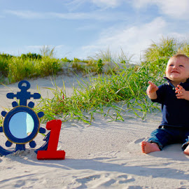 birthday boy by Colin F - Babies & Children Child Portraits ( sand, birthday, one, beach, growing, baby, boy )