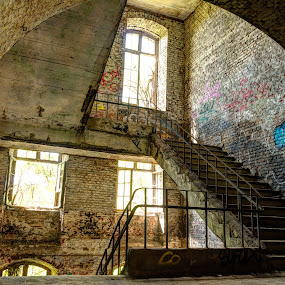 Fort de la Chartreuse is now abandoned and is full of graffiti. by Roger Hamblok - Buildings & Architecture Decaying & Abandoned ( railing, stair, hdr, way up, destruction, handrails, belgium, up, railings, urban, chartreuse, urbex, stairs, stairway, destroyed, rubbish, graffiti, staircase, grille, glass, grid, upstairs, abandoned, decay,  )