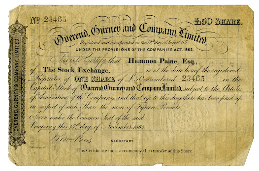 Many individuals choose to invest in a company's shares in the hope that they will benefit from any profits that company might make. These investments are always made at personal risk. In 1866 the bank Overend, Gurney & Company failed, with shareholders making substantial losses.