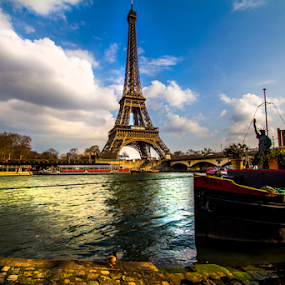 by Paul Scullion - Buildings & Architecture Statues & Monuments ( water, paris, eiffel tower, river seine, france, river,  )
