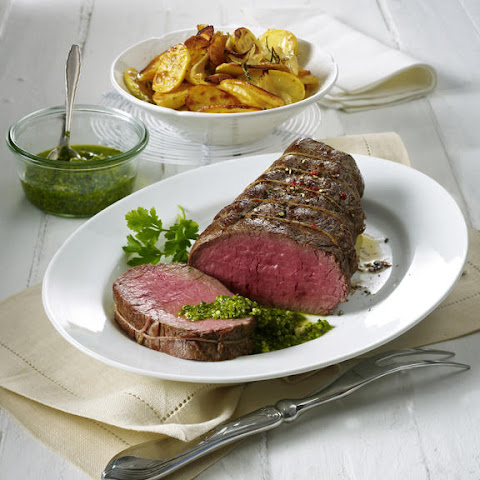 Roast Beef with Italian Salsa Verde and Roasted Potatoes