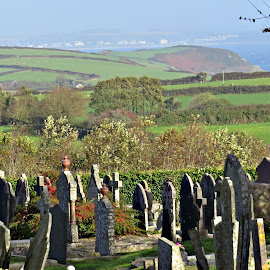 St Keverne Cemetery Cornwall by Angie Keverne - City,  Street & Park  Cemeteries ( cemetaery, graves, headstones, view, cornwall, graveyard,  )