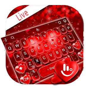 Live Floating Love Heart Valentine Keyboard Theme