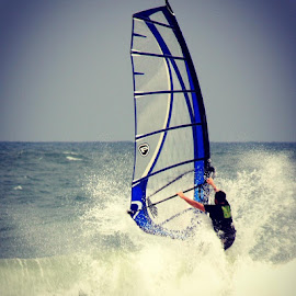 Sail Boarding against the Waves by Rick Lesquier - Sports & Fitness Watersports