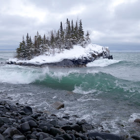 January Waves by Sandra Updyke - Landscapes Waterscapes ( waves, snow, january weather, north shore, lake superior, horseshoe bay )