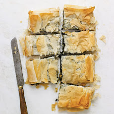 Spinach Pie with Goat Cheese, Raisins, and Pine Nuts