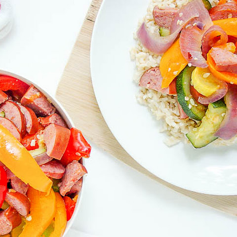 Summer Veggie Stirfry With Turkey Kielbasa