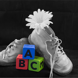 selective color abc by Eva Ryan - Artistic Objects Still Life ( abc, baby blocks, baby shoes, boots, flower,  )