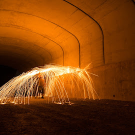 Firey Tunnel by Mark Schneider - Abstract Light Painting ( light painting, night photography, long exposure, night, sparks, fire )