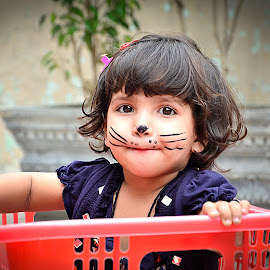 Cute Baby by Amir Sardar - Babies & Children Child Portraits ( cat, basket, baby, smile, kid )