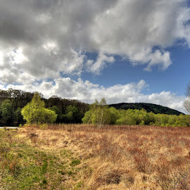 A sign of Summer by Stephen Crawford - Landscapes Prairies, Meadows & Fields ( clouds, loch kem, castle douglas, landscape, ultra wide angle,  )