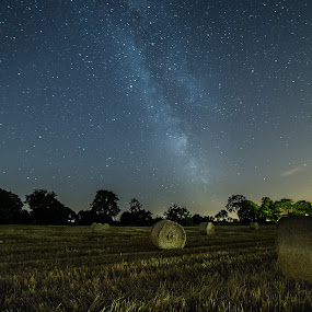 Straw bales by Jocke Mårtensson - Landscapes Starscapes ( canon, sweden, milkyway, stars, astrophotography, nightscape )