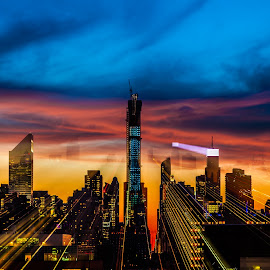 ZOOM by George Petropoulos - City,  Street & Park  Skylines ( #ilovenyc, #zoomlens, #art, #color, #newyork, #sunset, mood factory, color, lighting, moods, colorful, light, bulbs, mood-lites )