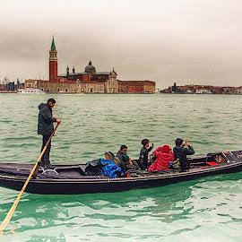 Venezia drive by Jiri Cetkovsky - City,  Street & Park  Skylines ( venezia, san giorgio maggiore, gondoliere, boat, italy, gondole )