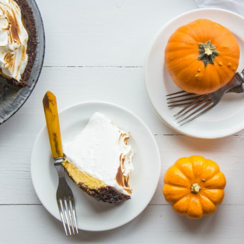 Pumpkin Meringue Pie with Brown Butter Gingersnap Crust
