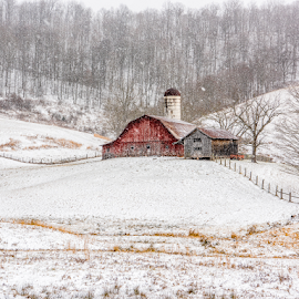 This Old Barn by Sheldon Anderson - Landscapes Mountains & Hills ( 2017, dec, snow, barns, wv )
