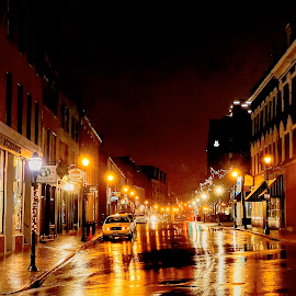 night reflections by Bill Kenny - City,  Street & Park  Night ( reflections, night, nikon, rain, street photography )