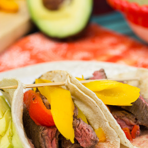 Skirt Steak Tacos with Roasted Peppers
