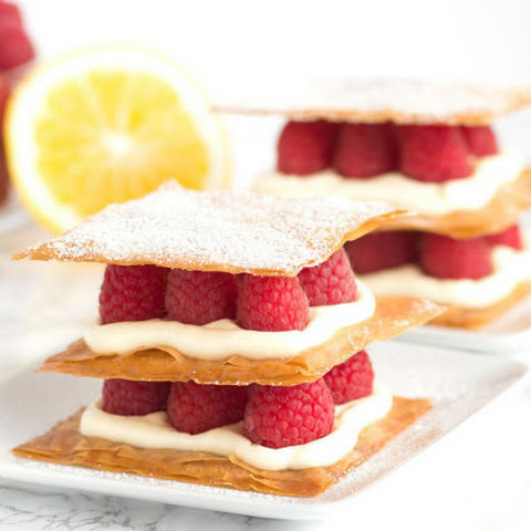 Lemon Cream and Raspberry Phyllo Napoleons