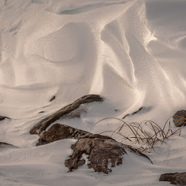 Natures sculpture by Garnie Ross - Nature Up Close Sand ( sculpture, winter, snow, rock )