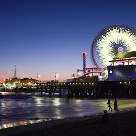 Electric Night by Givanni Mikel - City,  Street & Park  Amusement Parks ( amusement park, monica, santa, california, pier, ferris wheel )