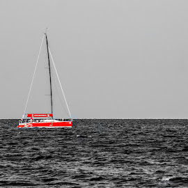 Red boat by Ovidiu Sova - Transportation Boats ( red, selective color, waterscape, seascape, boat )