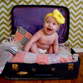Traveling by Jill French - Babies & Children Babies ( quilt, vintage, suitcase, baby, yellow, zigzag, flower, gree )