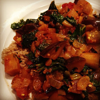 Moroccan Spiced Eggplant with Kale