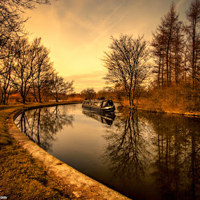 by Andy Young - Landscapes Waterscapes ( cheshire, winter trees, runcorn, canal boat, sunset, reflections, canal )