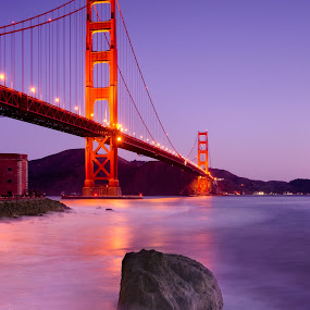 Pre-dawn on the Golden. by Dustin Penman - Travel Locations Landmarks ( dustin, bay, bridge, sunrise, golden gate, penman, san francisco )