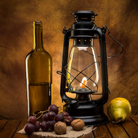 Still Life with Oil Lamp by Rakesh Syal - Artistic Objects Still Life