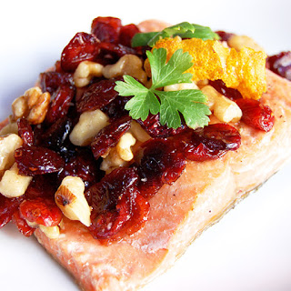 Pan-Seared Salmon with Cranberry Walnut Relish