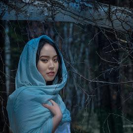 At forest by Tsatsralt Erdenebileg - People Portraits of Women ( portrait of women, beauty, beautiful eyes, portrait, dark background, women )