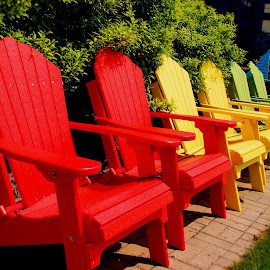 Chairs In A Row by Becky McGuire - Artistic Objects Furniture ( chair, minnesota, vacation, red, tvlgoddess, becky mcguire, relax, yellow green, adirondack, summer, fun )