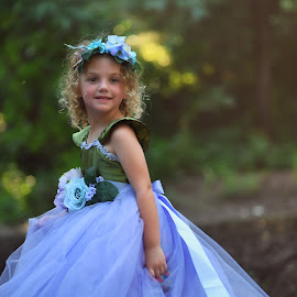Andie by Carole Brown - Babies & Children Child Portraits ( floral halo, forrest, blonde hair, green eyes, tulle dress )