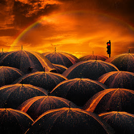 Shine bright like a diamond by Caras Ionut - Digital Art Things ( raimbow, orange, tutorials, pole, bright, umbrella, diamond, light, rain, photoshop )